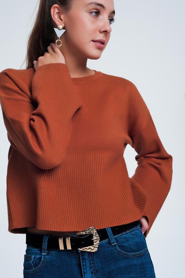 Camel sweater met lange mouwen