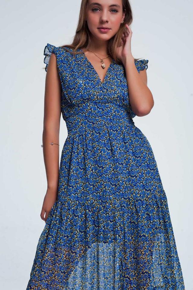 Blauwe lange jurk met volant en bloemenprint