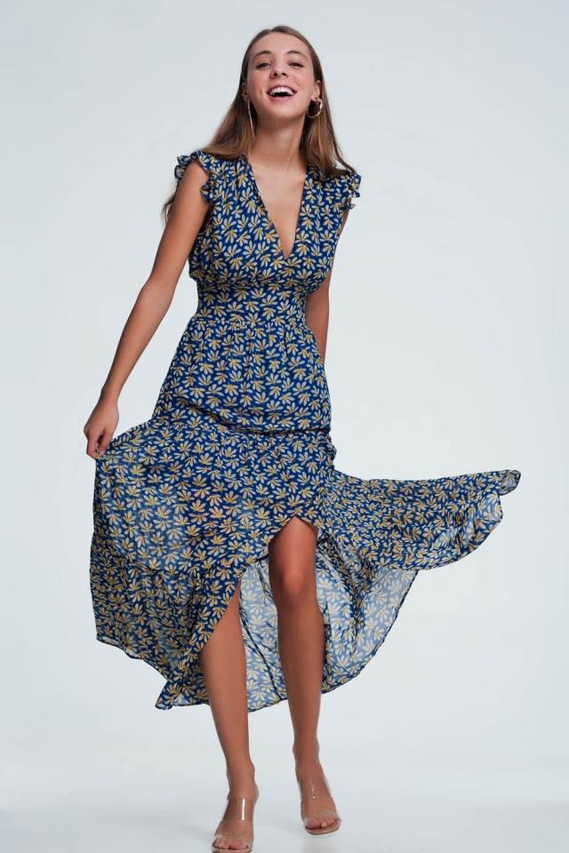 Maxi-jurk met elektrische blauwe franjes in gele bloemenprint