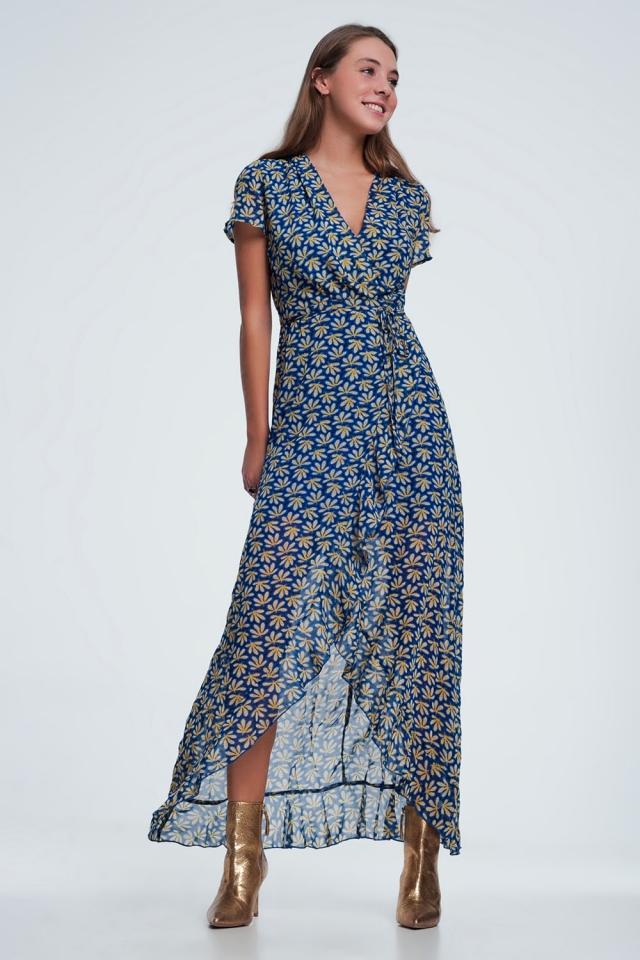 Blauwe midi-jurk met overslag, ruches en bloemenprint