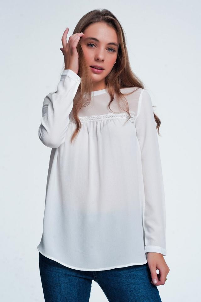 Crème kleurige shirt met streep detail