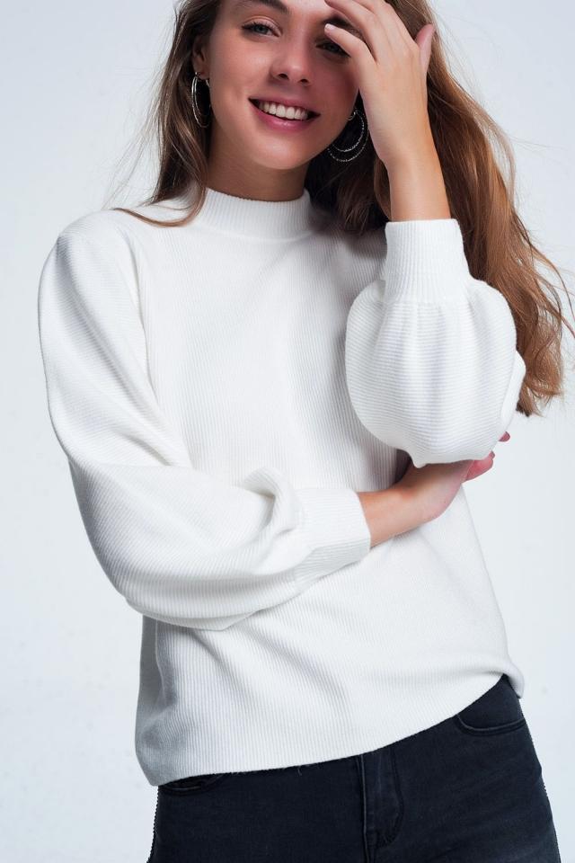 Crème kleurig sweatshirt met lange mouwen