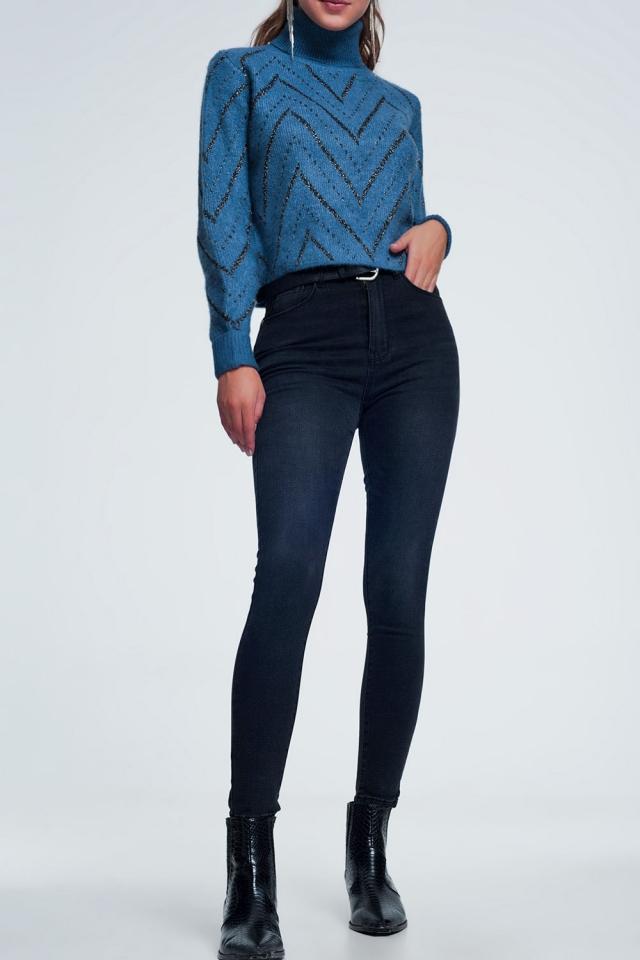 High waist zwarte jeans met lichte wassing