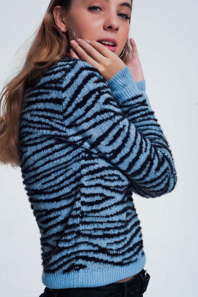 Blauw sweatshirt met tijgerprint