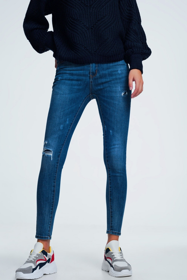 Blauw distressed mid wash jeans