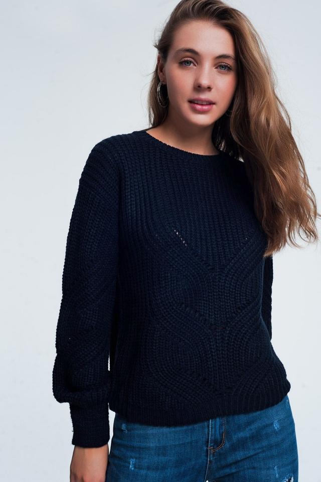 Donkerblauw geweven trui