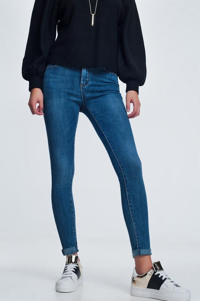 Blauwe skinny jeans met lichte wassing