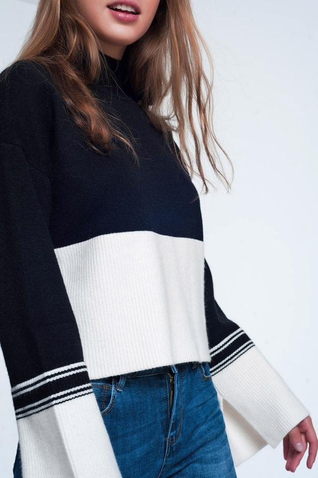 Zwarte trui met witte strepen