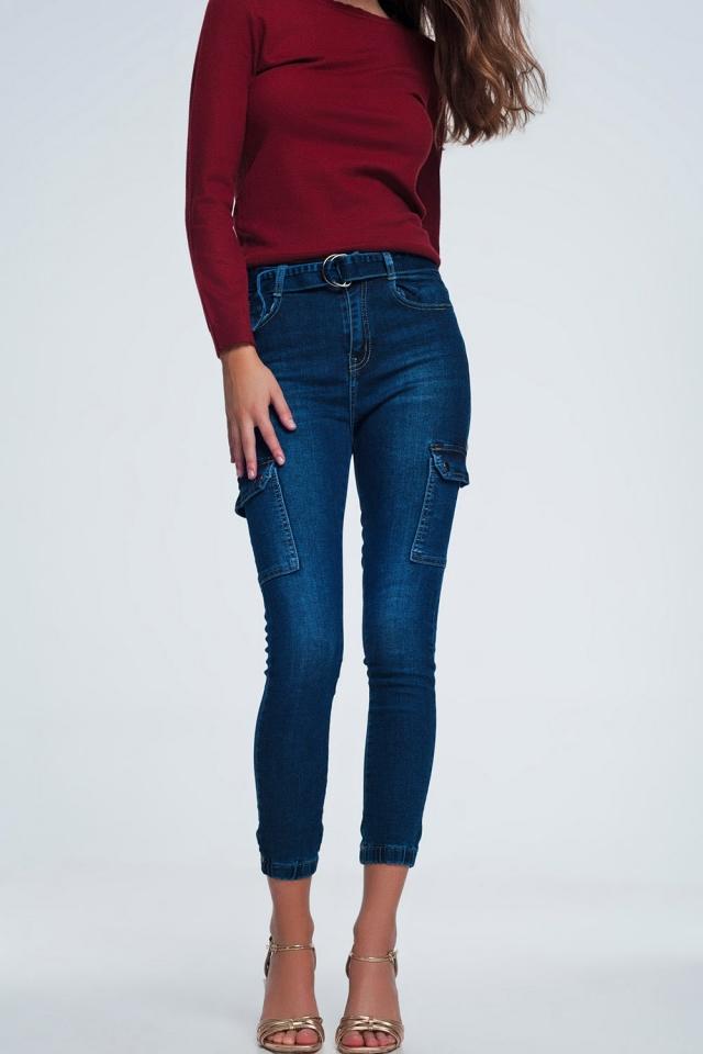 Spijkerbroek met 7 broekzakken en riem