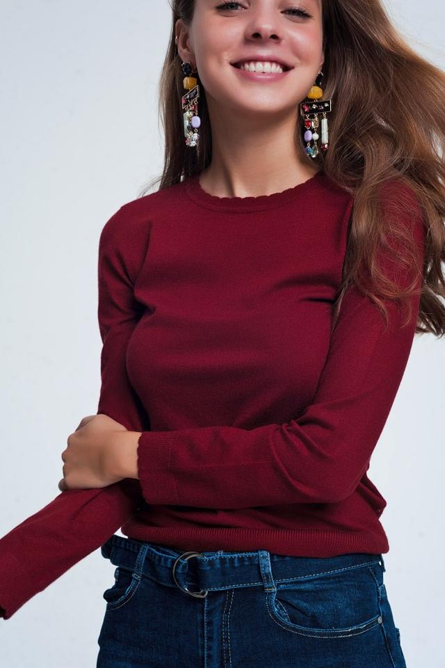 Kastanjebruin sweatshirt met lange mouwen en ronde hals