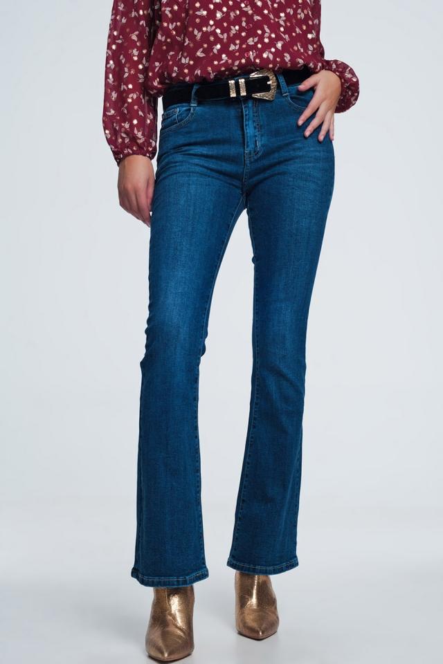 Flare jeans in blauwe vintage mid wash