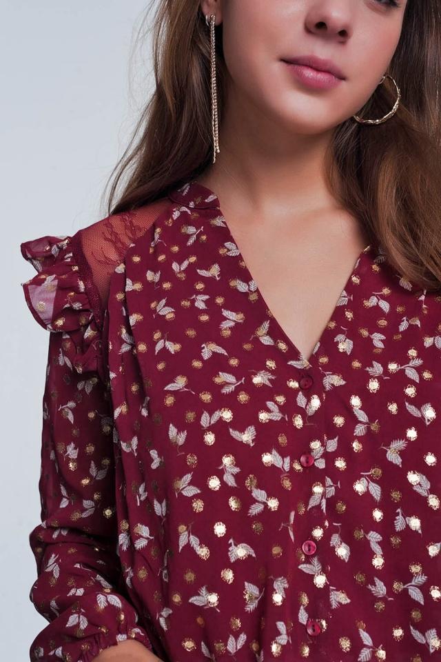 Granaatoverhemd shirt met bloemenprint
