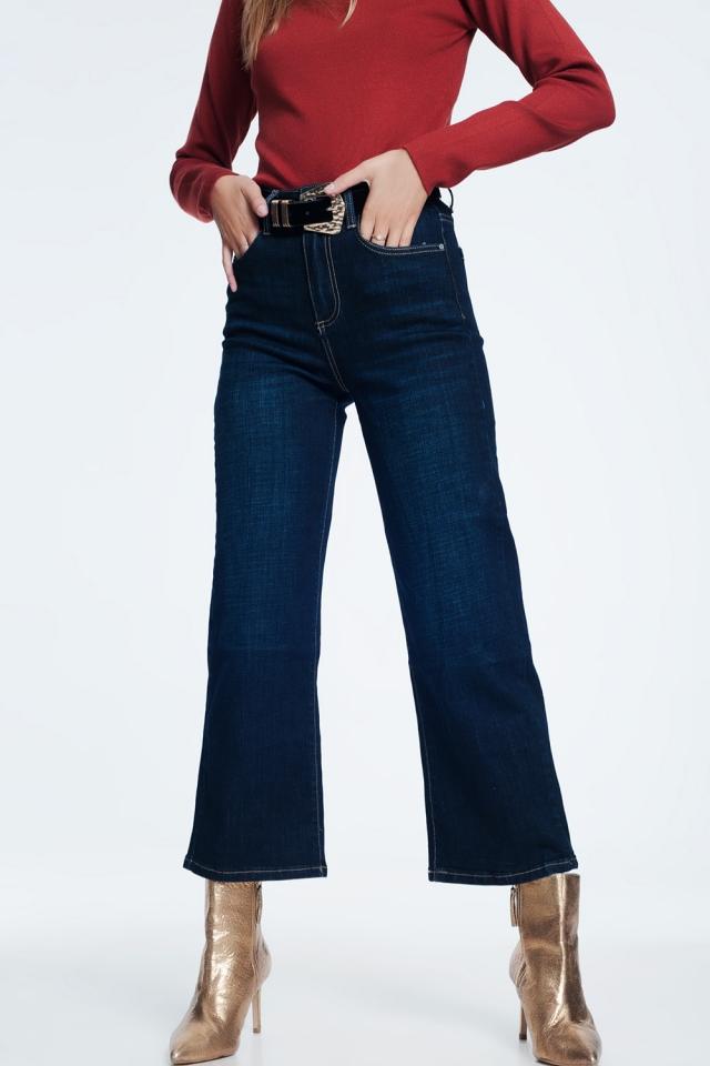 Donker blauwe mom jeans