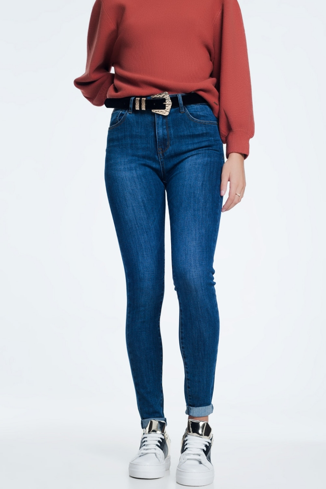 Push-up jeans met donkere wassing