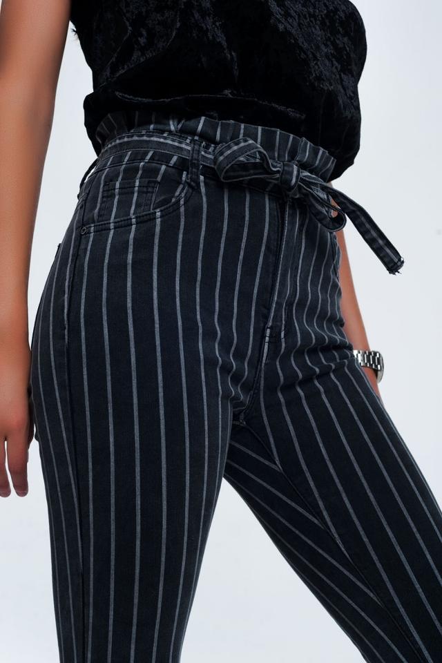 Grijze skinny jeans met strepen