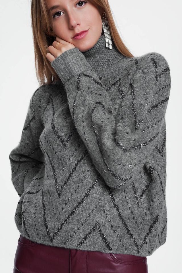 Grijze trui met ronde hals en lange mouwen