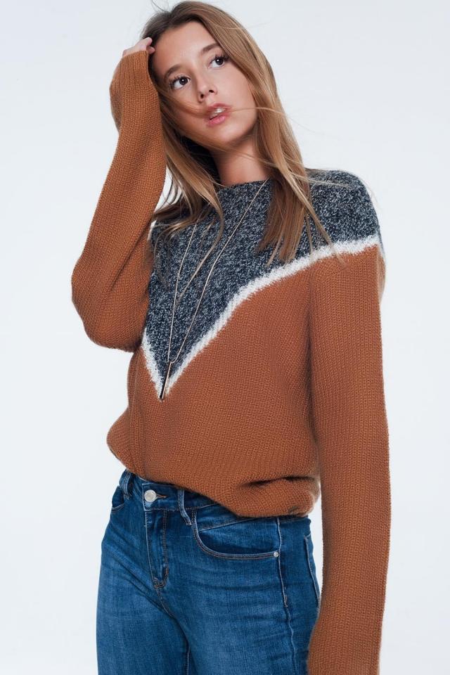 Geweven camel kleurige trui