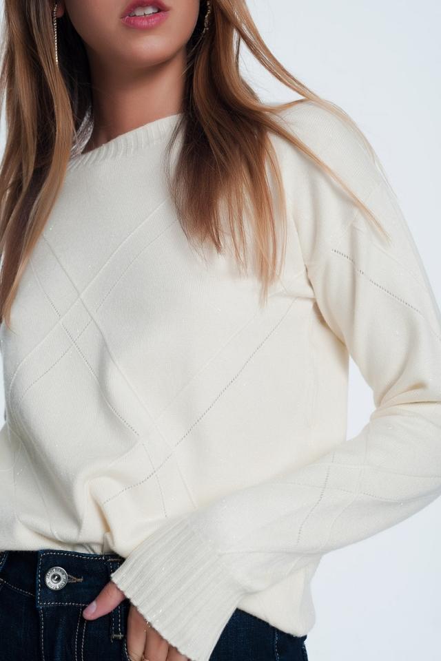 Crème kleurige sweatshirt met lange mouwen