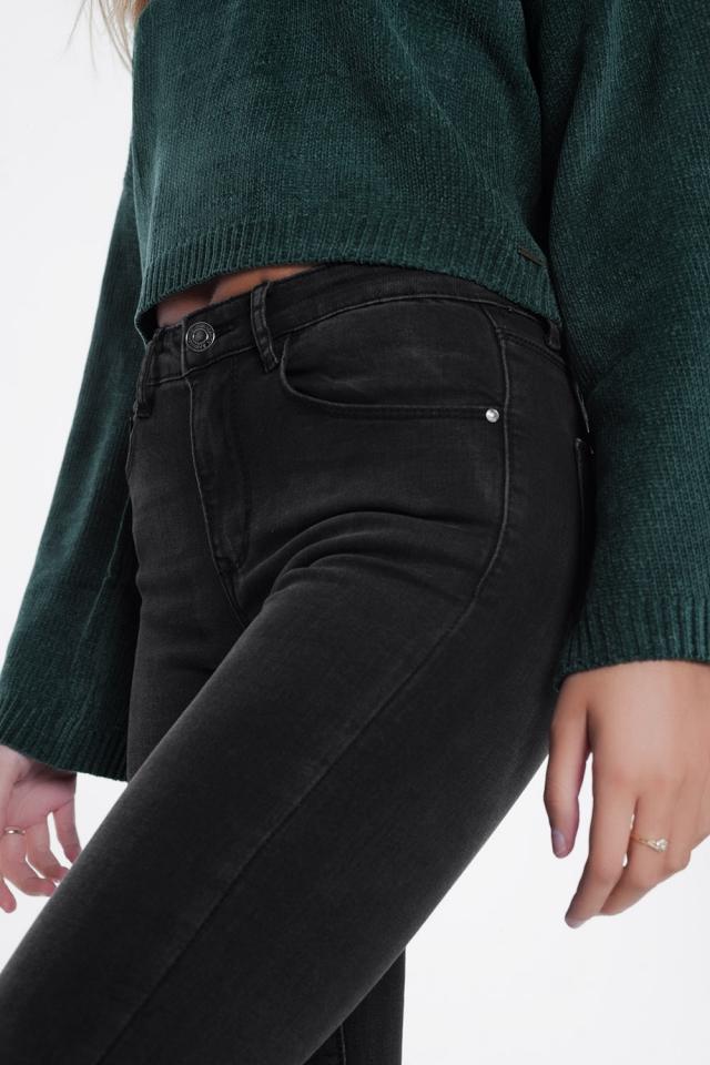 Skinny jeans met hoge taille in zwart met wassing
