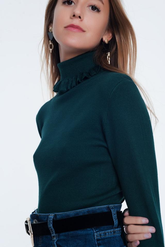 Groen sweatshirt met nekdetail