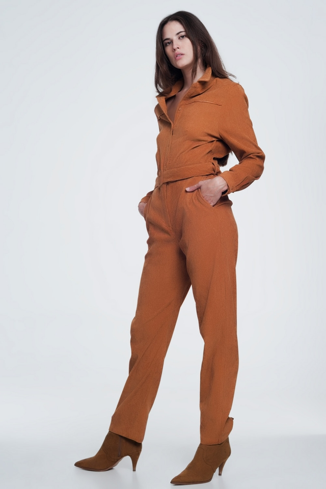 Corduroy utility jumpsuit in camel