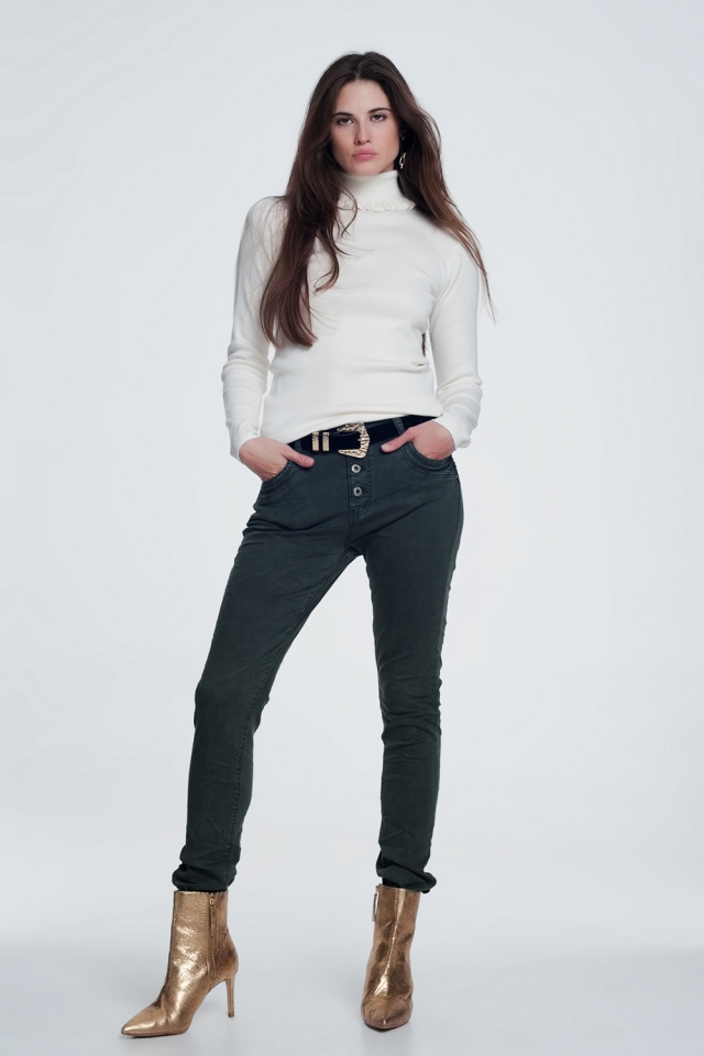 Kaki jeans met knoopafsluiting