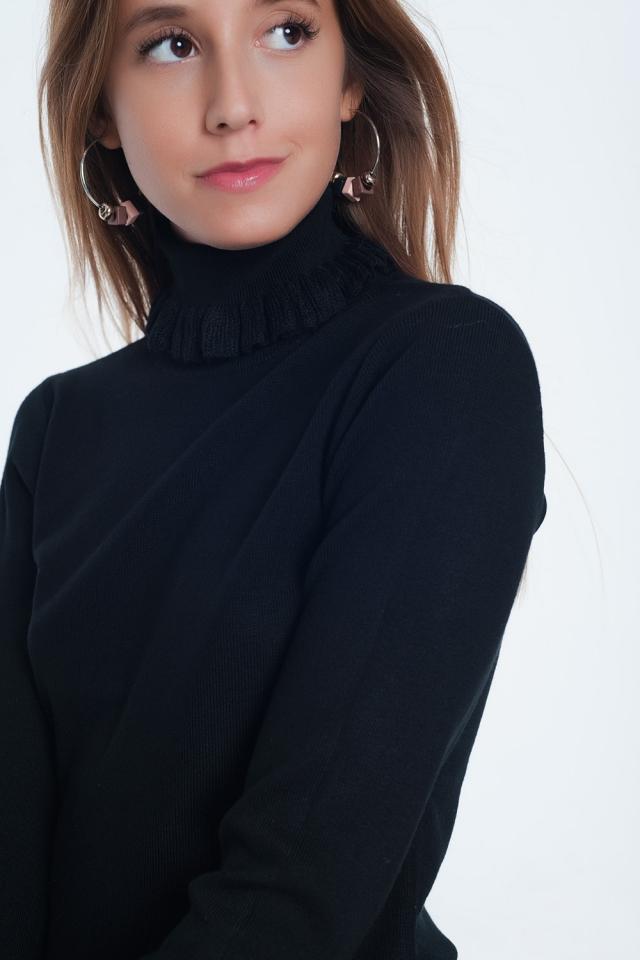 Zwarte sweatshirt met nekdetail