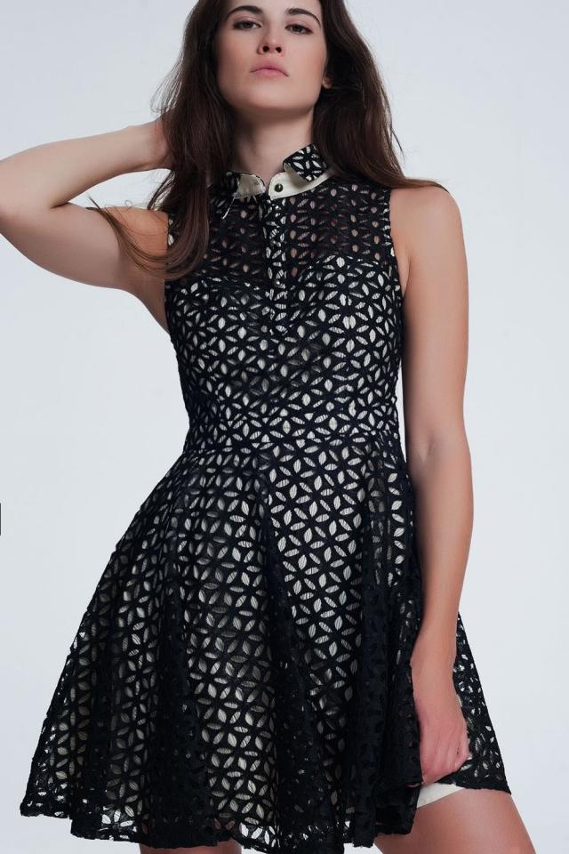 brokaat jurk in zwart