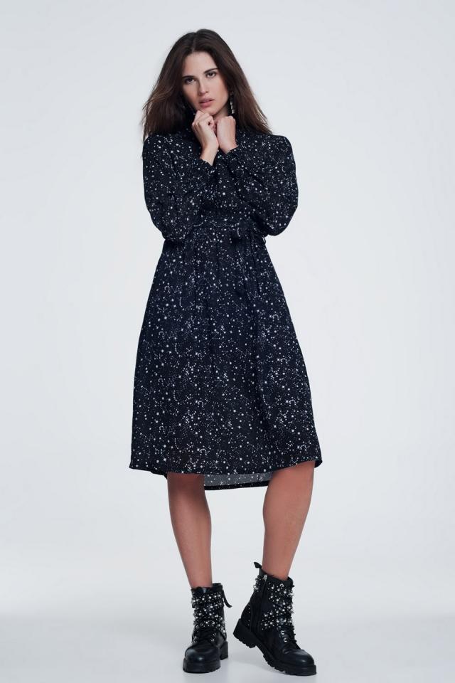 Midi-jurk met sterrenprint in zwart