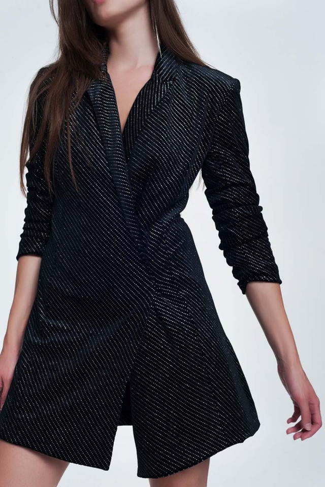 Mini jurk in zwart met glimmende print