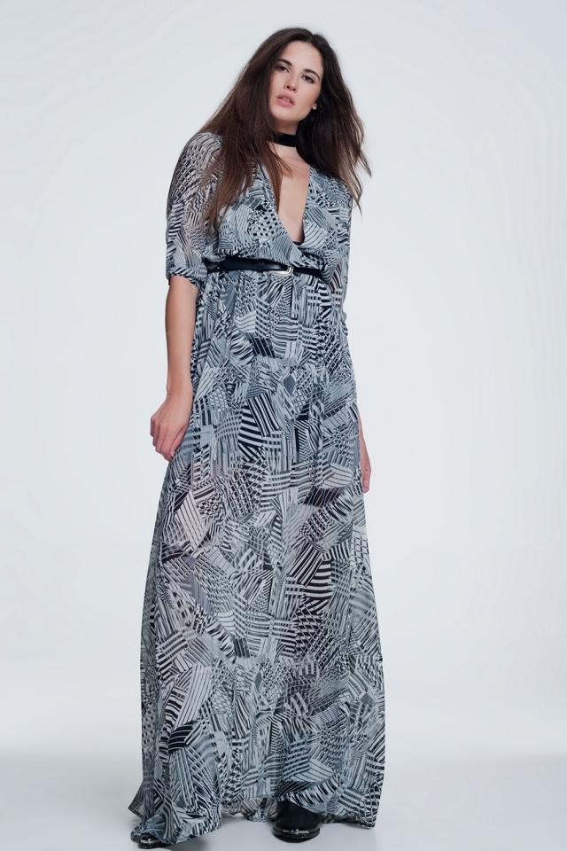 Lange jurk met print in grijs