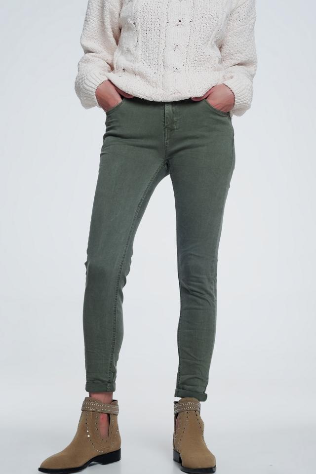 Groene skinny jeans met hoge taille