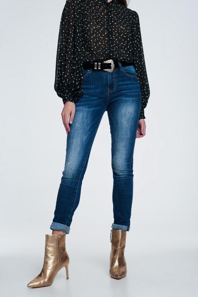 Skinny jeans met hoge taille en extreme donkere stonewash blauw