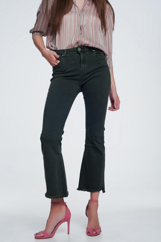 Flared jeans met hoge taille en onafgewerkte zoom in kaki