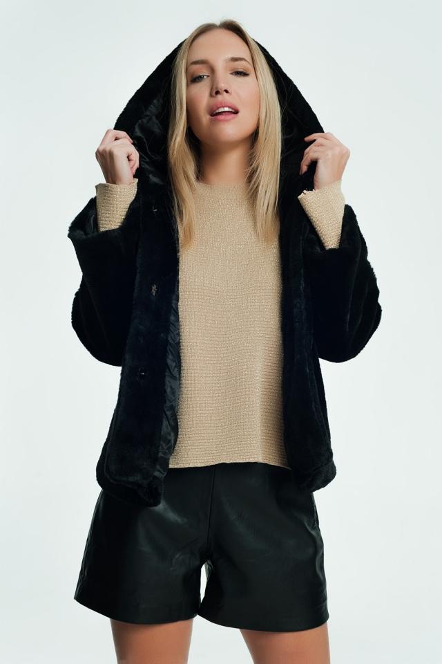 Bont jas in het zwart