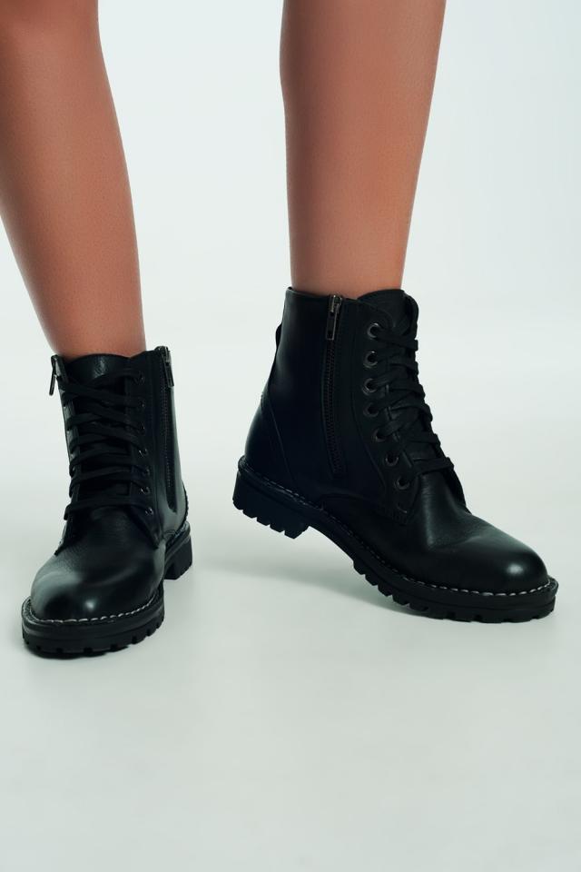 Leren laarzen met dikke zool in zwart