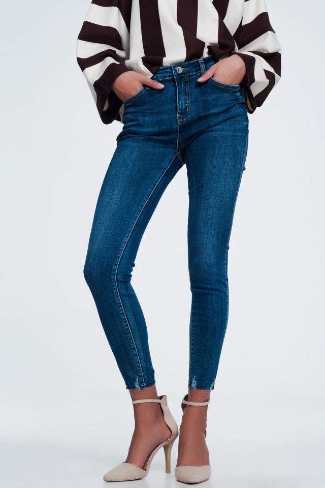Skinny jeans met hoge taille in dark stone wash met gerafelde zoom