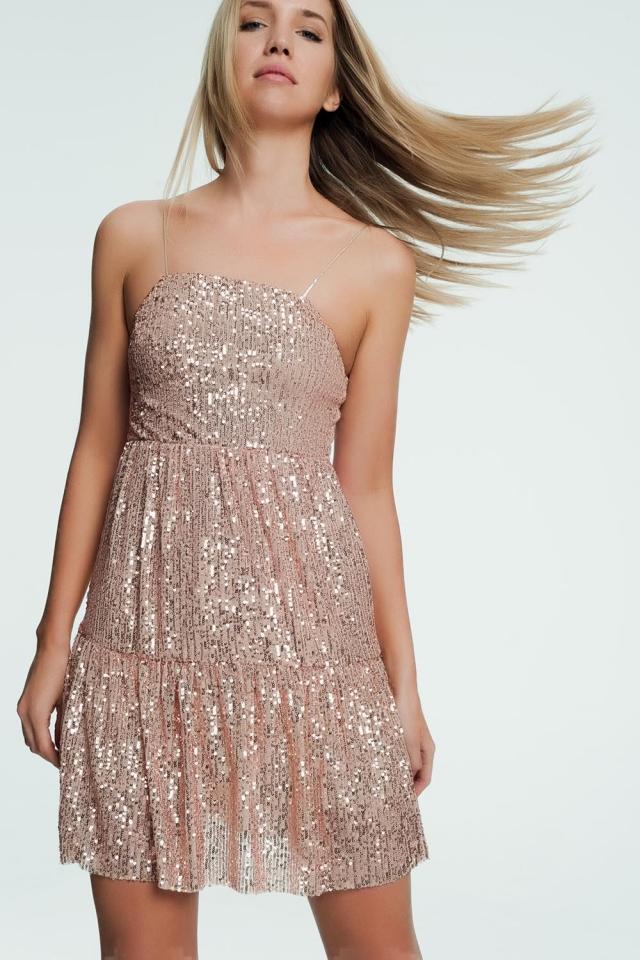 Gouden mini jurkje met glitters