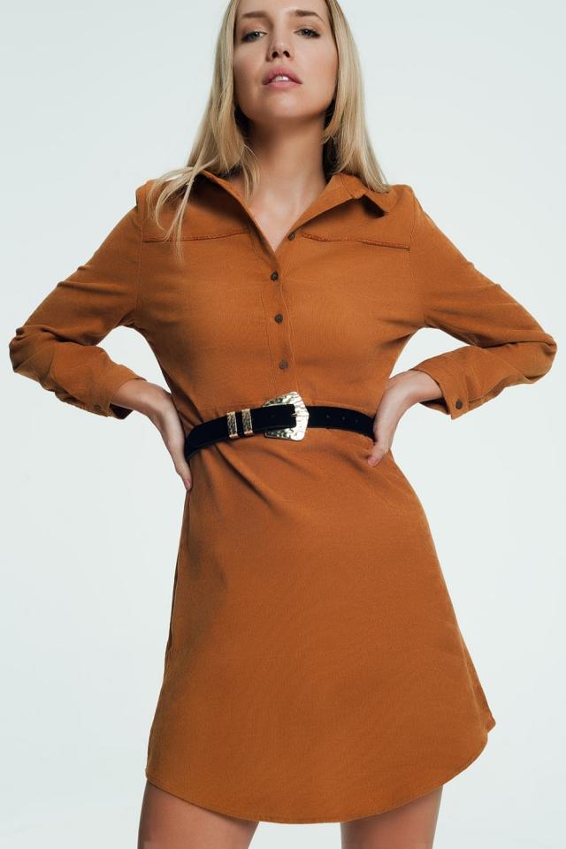 Kameel kleurige mini jurk met knoopafsluiting