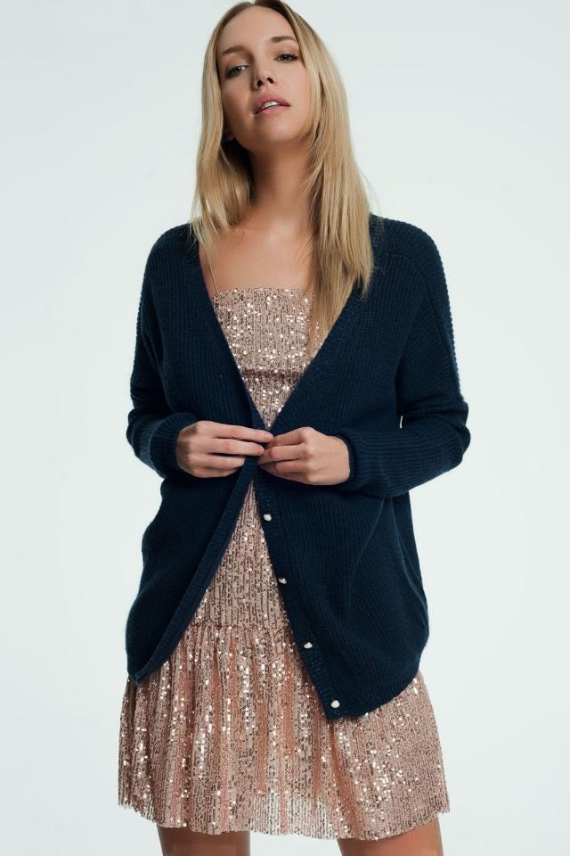 Donkerblauwe vest met v-hals en knopen