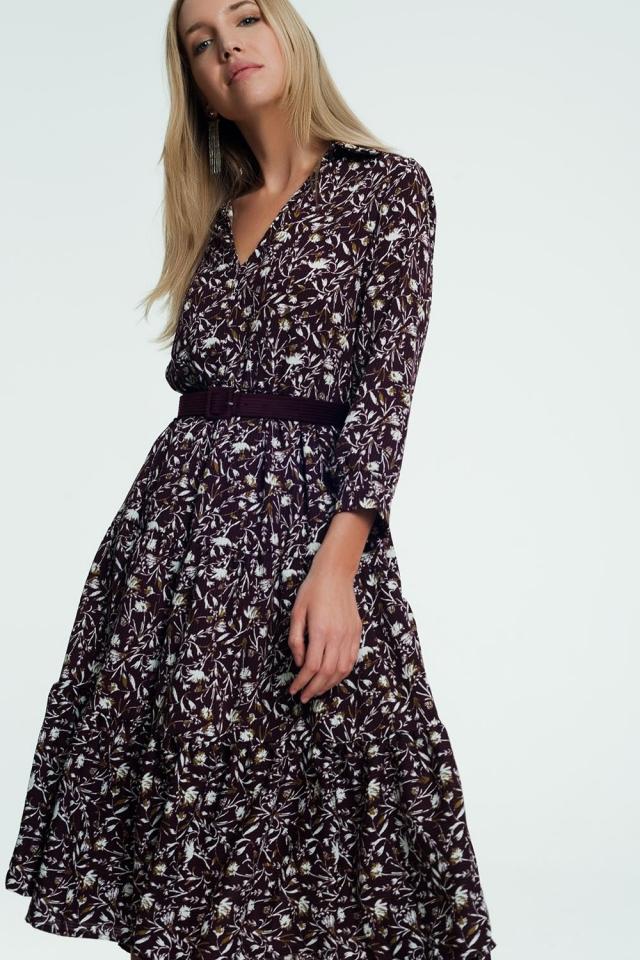 Lange jurk met bloemenprint in paars