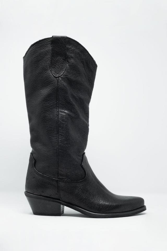 Zwarte western hoge laarzen