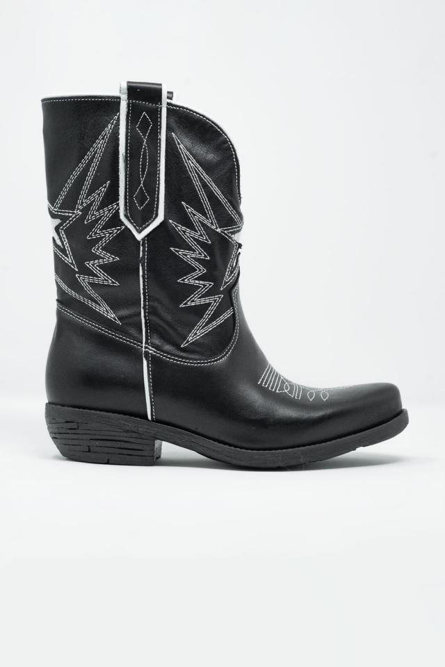 Zwarte western knielaarzen met witte details