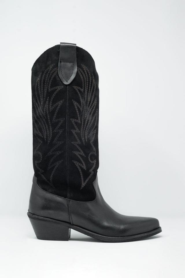 Zwarte western hoge laarzen met suede print detail