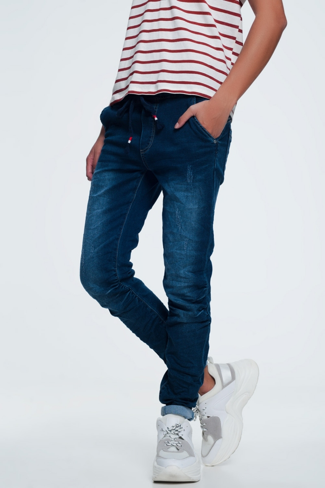 Jeans met trekkoord