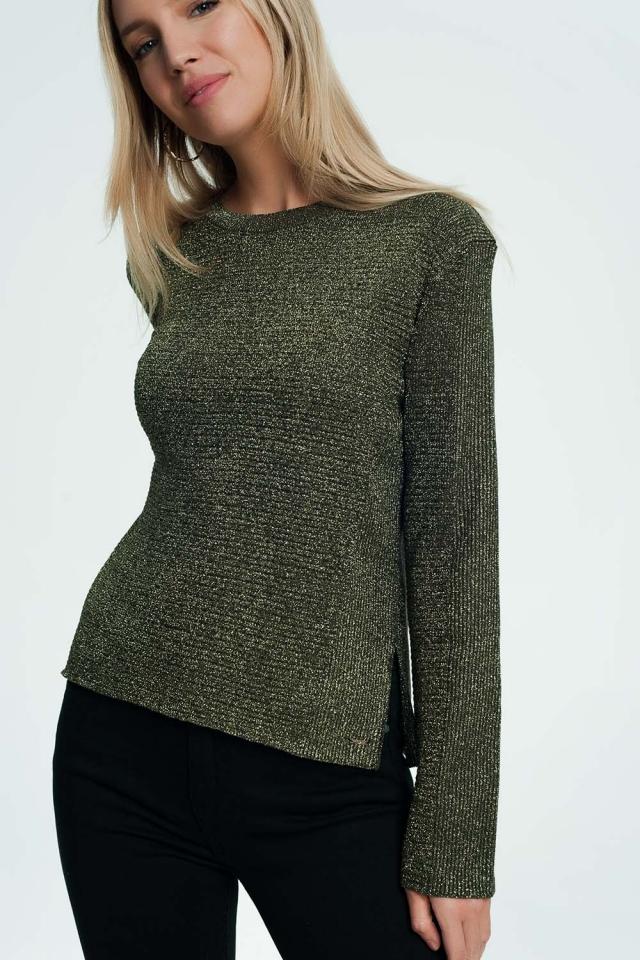 Kaki sweater met geribbeld en gebreid detail