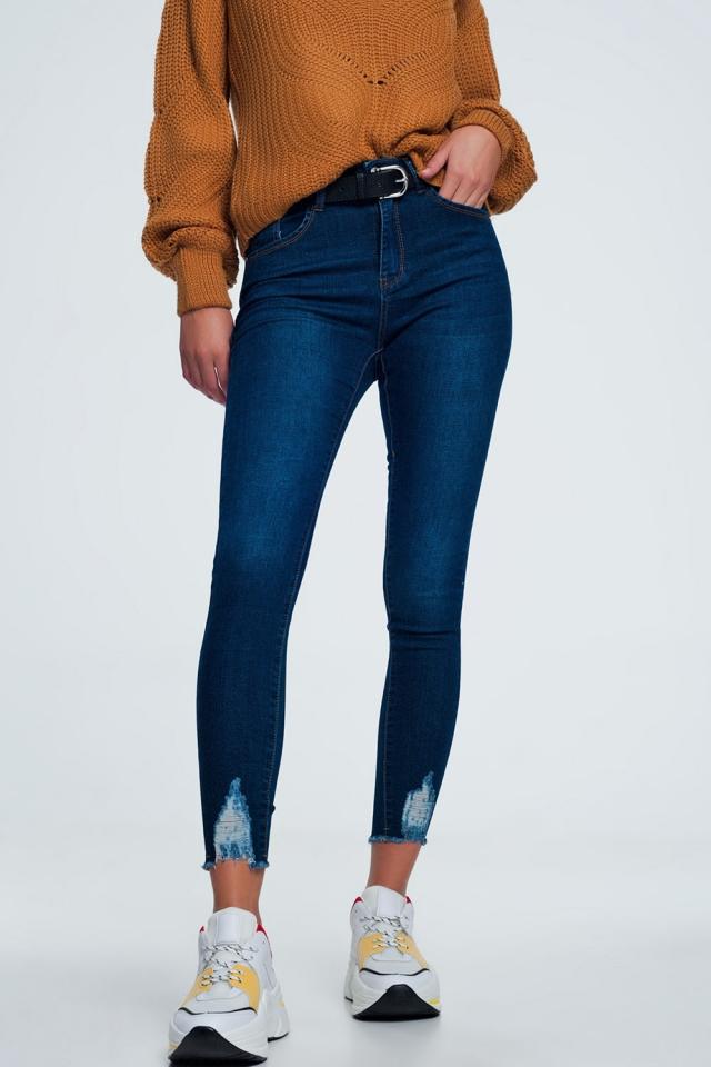 Gescheurde skinny jeans in middenblauw