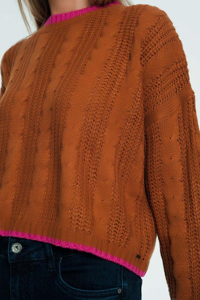 Geweven sweatshirt in Bruine