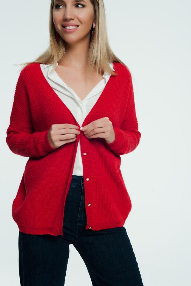 Rood vest met v-hals en knopen