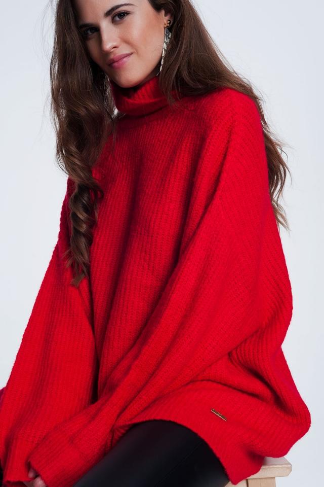 Oversized trui met opstaande boord in rode